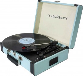Platine Vinyle à courroie Madison RETROCASE Blu