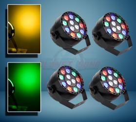 Pack 4 projecteurs à leds 12x1 RVB MINIRGB4