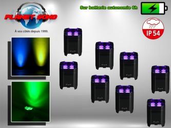 Location pack projecteurs à leds sur batterie étanche x8
