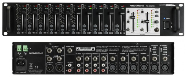 Mixer 10 entrées et Préampli 2 zones audiophony PREZONE642